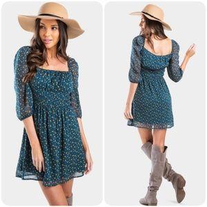 Trixxi | Mila Teal Floral Square Neck Dress Large